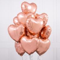 """Воздушные шары """"Розовое-золото сердца"""""""